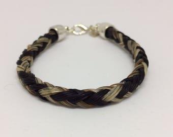 Black/Gray Horse Hair Braided Horsehair Bracelet - 6MM Round Braid