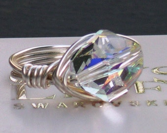 Cosmic Crystal Wire Wrap Ring made with Swarovski Crystal Elements Choose Your Finish by LadyCJewellery