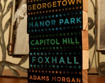 Travel Gift, Places Lived Gift, Coworker Gift Washington DC Art Hoods on Wood, 5 Typographic Art Blocks, Pick the Hoods Hometown Art