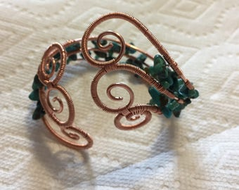 Handmade copper wire cuff bracelet, turquoise copper cuff bracelet, turquoise bracelet, boho style copper and turquoise cuff bracelet