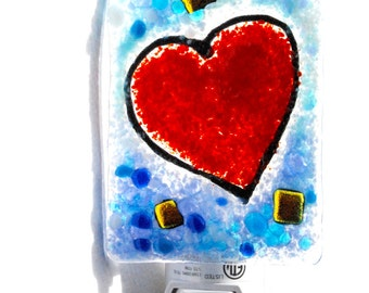 Heart Night Light, fused Glass, heart wall light, glass night light, valentine light, heart light, glass heart light