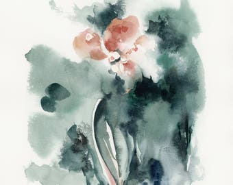 Abstract pink flowers ORIGINAL Watercolor Painting, Abstract realism botanical painting art, modern floral painting