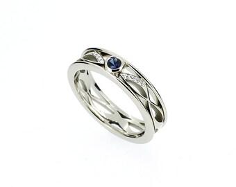 Blue sapphire wave ring, Diamond, filigree, white gold, wedding band, filigree wedding, blue wedding band, sapphire wedding, engagement ring