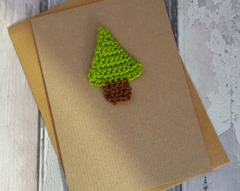 Christmas tree card, crochet pine tree,greetings card