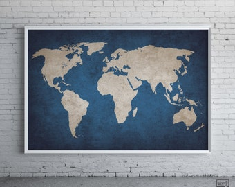 Watercolor world map art print magenta pink purple painting navy blue rustic world map print old world map indigo cobalt blue large world map poster gumiabroncs Choice Image