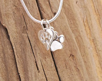 Tiny Dog Cat Pet Paw Print Heart Charm Sterling Silver Pendant Necklace Boxed Pet Loss Pet Lover