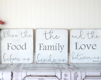 Bless The Food Before Us Kitchen Sign Dining Room Sign Rustic Chic Kitchen Shabby Chic Kitchen Vintage Fixer Upper