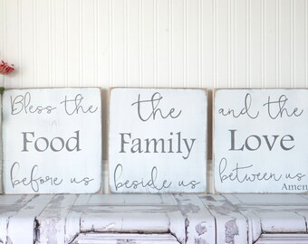 Bless The Food Before Us Kitchen Sign Dining Room Sign Rustic Chic Kitchen  Shabby Chic Kitchen