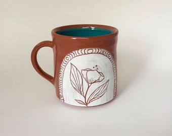 Hand Thrown Pottery Floral Mug