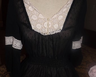 SALE Womens Sheer Black Gypsy Boho Blouse Top Small