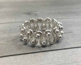 Wavy Lines Ring in Sterling Silver