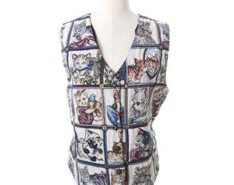 Vintage Cat Kitten Tapestry Vest Size Large