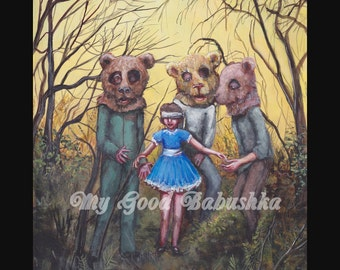 Study for Teddy Bears' Picnic Print, Fairy Tale, Dark Art, Bear Costumes, Wearing a Blindfold, Blue Dress, Horror Art, Three Bears