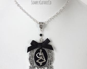 Gothic Victorian Skeleton Cameo Necklace- ONE LEFT