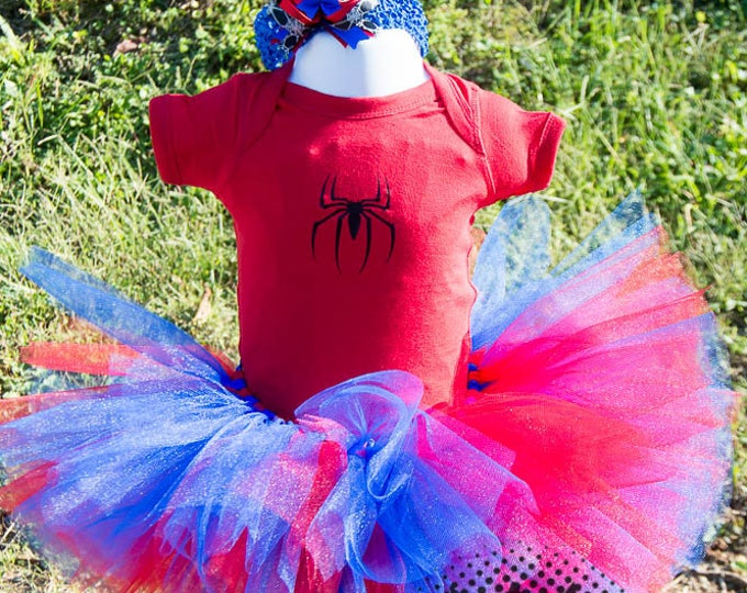 Spider Birthday Shirt Tutu outfit red blue Handmade Tulle Skirt Personalized Customized spiderman