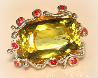Extraordinary Citrine Sapphire Sterling Silver Gold Ring Size 8.5