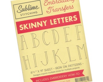 Alphabet Hand Embroidery Pattern | Sublime Stitching Embroidery Patterns - Modern Hand Embroidery Designs - Skinny Letters