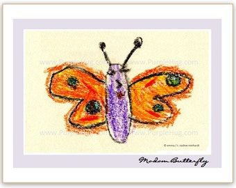 Photo Notecard, choose 1 - Emma's art: Butterfly, Bird singing OR Big red fish - print mounted on notecard - nature crayon drawing chalk art