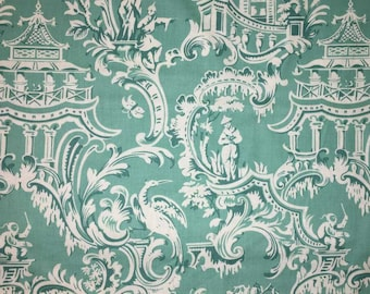 Asian Tree Toile Teal Aqua Asia Handcrafted Valance a1/26