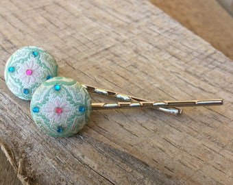 Spring tea Fabric covered Bobby pin set hairpins