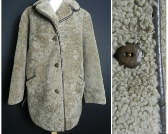 60s 70s Shearling curly sheepskin reversed faux fur COFFEE brown three quarter length coat jacket M ~ L