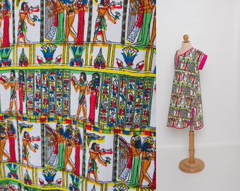vintage girl's dress | novelty Egyptian print dress