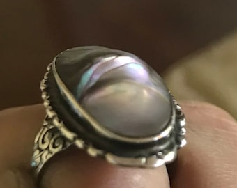 Vintage Sterling Blister Mother of Pearl Ring