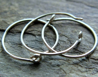 26g hoops-- sterling silver or 14k hoops-- primitive series-- handmade by thebeadedlily