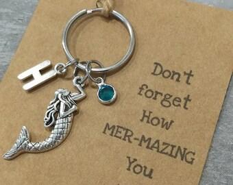 Mermaid Key ring, Mermaid Keychain, Sea Life Keyring, Personalised Keyring, Nautical Keyring, Large Keyring, Mermaid Accessories, Mermaid