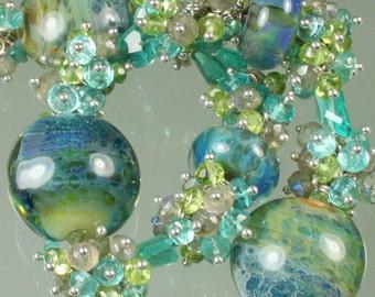 FINAL SALE * 50% off * SALE * Boro Borosilicate Lampwork Sterling Silver Gemstone Bracelet