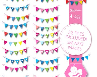 Pennant Clipart, Bunting Banner Clipart, Bunting clipart, Flag Clipart, Polka Dots, Stripes, Chevron, Pennant Banner Clip Art, DP4059