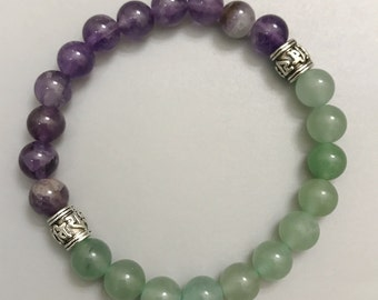 Yoga Bracelets  ॐ  Om Mani Padme Hum Prayer Wheel: Amethyst | Green Aventurine | Energy Healing Karma Love | OOAK Luxury Jewelry | Men Women