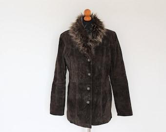 Brown Suede Coat 70s Shearling Brown Coat,  Brown Suede Fur Penny Lane Coat / Brown suede Jacket  Size Medium