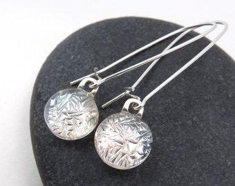 Silver Frost Earrings -  Long Elegant Earrings - Silver Glass Earrings - Sterling Silver Dangles