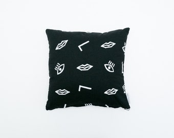 Confetti Face Pillow  - Black & White - 16x16