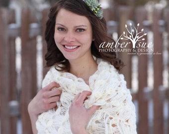 Bridal Shawl - Ivory Bridal Shrug - Ivory Crochet Bridal Shawl - Ivory Rectangular Shawl - Ivory Crochet Scarf
