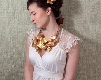 statement necklace gold flower wedding gold jewelry lily bridal necklace flower jewelry bridal jewelry set gold hair clip fairy wedding FJ33