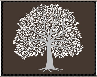 Digital Clip Art - The Big Tree - Grey and White - Signature Tree - Family Tree - Instant Download