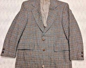Vintage Retro Mid Century 60s Mavest Hopsack Plaid Wool Hipster Sport Coat Suit Jacket Blazer Mens 38S