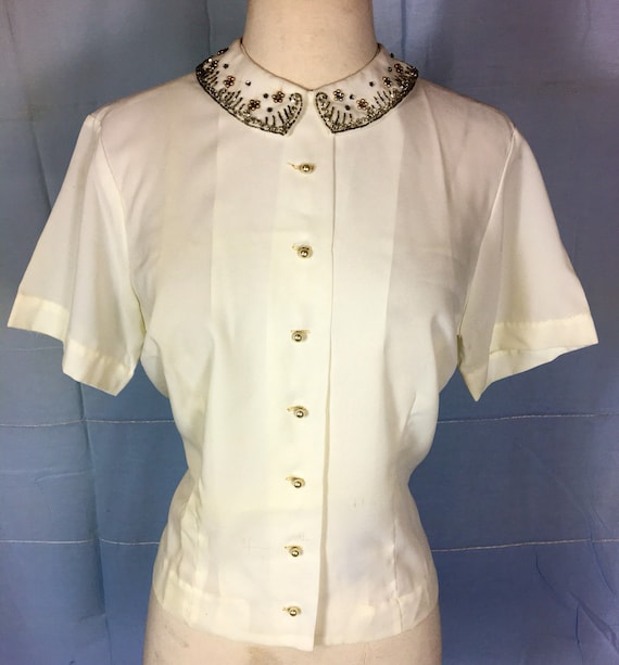 Vintage 1960s Hand Beaded Cream Colored Blouse with Pearl Buttons XL