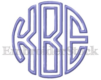 Circle Applique Monogram Design Embroidery Font Machine Embroidery Fonts Design - 4 Sizes