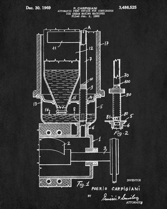 Ice cream maker patent print design cafe art poster blueprint like this item malvernweather Choice Image