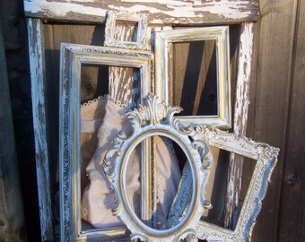 Set Of 5 Distressed Shabby chic Frames, Rustic, Frame Set, Antique White And Gold Wall Decor
