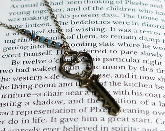 Bronze Key Necklace, Small Key Necklace, Antique Key Necklace, Vintage Inspired Key Necklace, Rustic Key, Bronze And Turquoise Necklace