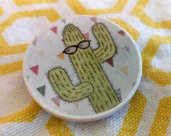 Wooden Round Cactus Pin with Triangles