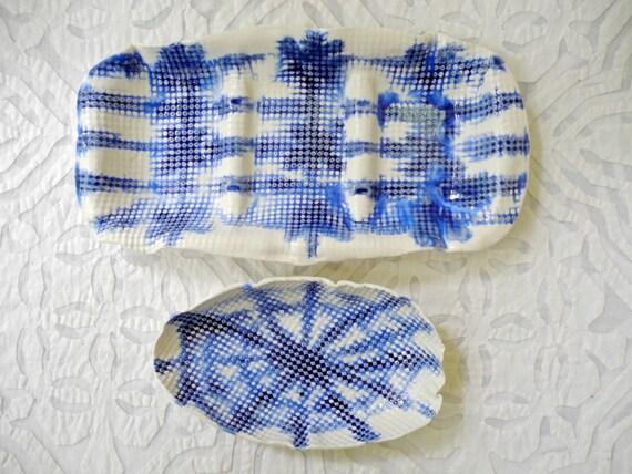 Shibori style ceramics, blue white porcelain, divided serving dish, oval bowl, tie dye, entertaining, nut dish, olive tray, serving dishes