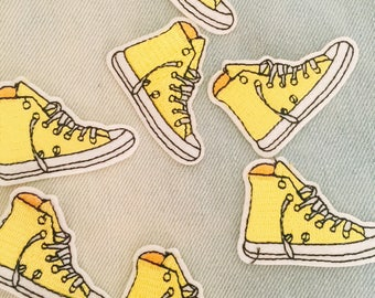 yellow sneaker patch ,shoes patch ,iron on patch ,converse patch ,embroidered patch