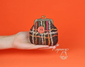 Brown small wallet, felted coin pouch, kiss lock coin purse, cute wallet women, change purse clasp, orange button accessory, gift girlfriend