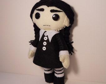 Felt Wednesday Addams inspired custom plush stuffed rag doll toy