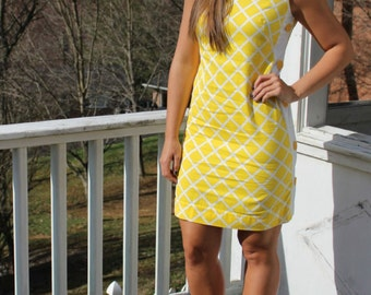 Vintage 60s Yellow Lattice Side Button Sheath Dress